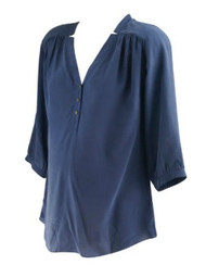 *New* Muted Navy A Pea in the Pod Maternity Buttoned Maternity Sleer Blouse (Size Small)