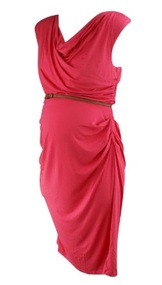 *New* Coral A Pea in the Pod Maternity Ruched Slight Cowl Faux Leather Belted Maternity Dress (Size Large)