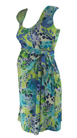 Blue and Green JW Japanese Weekend Maternity Scoop Neck Sleeveless Maternity Faux Wrap Dress (Gently Used - Size Small)
