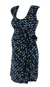 Blue and Black Geometric Design JW Japanese Weekend Faux Wrap Maternity Dress (Like New - Size Small)