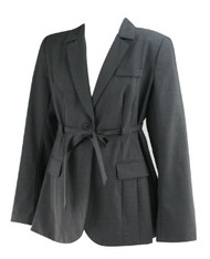 *New* Dark Gray A Pea in the Pod Maternity Belted Classic Suiting Maternity Jacket (Size Large)