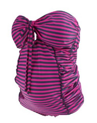 *New* Pink and Navy A Pea in the Pod Maternity Belted Maternity 2 Piece Tankini Swimwear (Size Small)