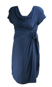 *New* Navy A Pea in the Pod Maternity Short Sleeve Casual Faux Wrap Maternity Dress