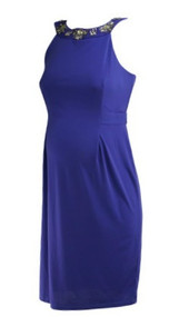 *New* Purple A Pea in the Pod Maternity Sleeveless Embellished Neckline Special Occasion Maternity Dress (Size Medium)