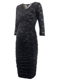 Caviar Black Isabella Oliver Maternity Lulu Lace Bodycon Longsleeve Maternity Dress (Like New - Size 0/ Size 0-2 USA)
