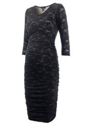 0453452044462 Caviar Black Isabella Oliver Maternity Lulu Lace Bodycon Longsleeve  Maternity Dress (Like New - Size