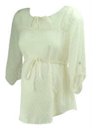 White Motherhood Maternity Dotted See-Through Maternity Blouse Without a Cami (Gently Used - Size Small)