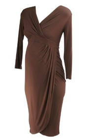 Chocolate Brown Isabella Oliver Maternity 3/4 Sleeve Cross Over Casual Maternity Dress (Gently Used - Size 1/4 USA)