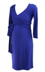 "Royal Purple Isabella Oliver Maternity ""Emily"" Ruched Wrap Front Maternity Dress (Gently Used - Size 2/ 6 USA)"