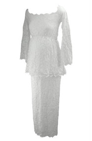 *New* White Nicole Michelle Maternity Long Sleeve Lace 2 Piece Maternity Skirt Set (Size Small)