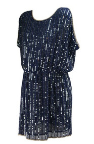 *New* Navy Blue Greglin for A Pea in the Pod Collection Maternity Embellished Sequin Maternity Cocktail Dress (Size Large)
