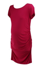 *New* Hot Pink A Pea in the Pod Maternity Scoop Neck Exposed Back Summer Maternity Dress (Size Large)