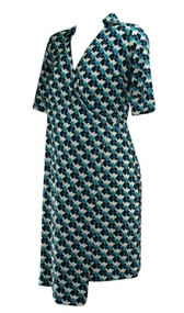 *New* Blue Tetris Print 3/4 Sleeve Wrap Maternity Dress by A Pea in the Pod Maternity (Size Small)