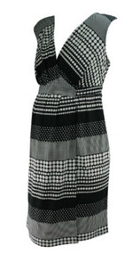 *New* Black and White Polk-A-Dot Print A Pea in the Pod Maternity Faux Wrap Maternity Dress (Size Medium)