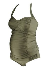 *New* Metallic Taupe A Pea in the Pod Maternity Ruched Maternity Two Piece Tankini Swimsuit (Size Small)
