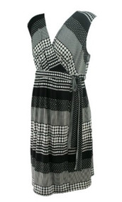 *New* Black and White Polk-A-Dot Print A Pea in the Pod Maternity Wrap Maternity Dress (Size Large)