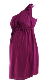 Magenta A Pea in the Pod Maternity One Shoulder Belted Special Occasion Maternity Dress (Like New - Size Medium)