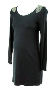 *New* Black A Pea in the Pod Maternity Long Sleeve Embellished Beaded Shoulder Maternity Sweater (Size Small)