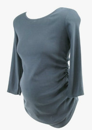 Navy Motherhood Maternity Long Sleeve Scoop Neck Casual Maternity Tee (Gently Used - Size Medium)