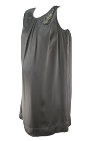 *New* 100% Silk Dark Silver Sleeveless Special Occasion Maternity by A Pea in the Pod Collection Maternity (Size Small)