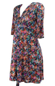 Pink and Orange Geometric Print Birds and the Bees Career Wrap Maternity Dress by Leota Maternity (Like New - Size Medium)