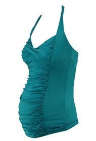 *New* Lot of 2 A Pea in the Pod Maternity Tankini Tops Only in Turquoise Green and Navy Polk-A-Dot  (Size Small)