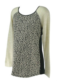 *New* Chocolate Brown Leopard Print Motherhood Maternity Long Sleeve Casual Maternity Sweater (Size Medium)
