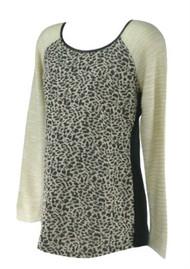 *New* Chocolate Brown Leopard Print Motherhood Maternity Long Sleeve Casual Maternity Sweater (Size Medium)