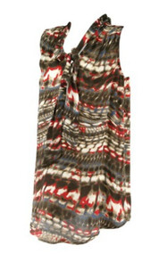 *New* Brown and Red Liquid New York for A Pea in the Pod Maternity Sleeveless Adjustable Tie Maternity Top (Size Small)