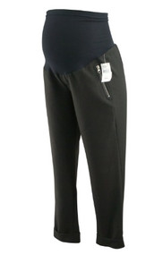 *New* Black A Pea in the Pod Maternity Cuffed Maternity Pants with Zipper Detail Pockets (Size Large)