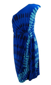 *New* Blue Donna Morgan for A Pea in the Pod Maternity Collection One Shoulder Maternity Dress (Size Large)