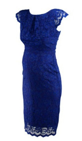 *New* Royal Blue Lace ABS for A Pea in the Pod Collection Maternity Special Occasion Maternity Dress (Size Medium)