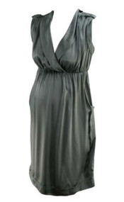 *New* Metallic Silver A Pea in the Pod Collection Maternity 100% Silk Maternity Dress  (Size)