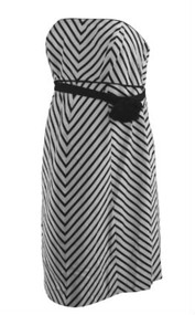 *New* White & Black A Pea in the Pod Maternity Chevron Print Special Occasion Strapless Dress (Size Medium)