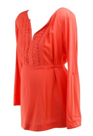 *New* Tangerine Orange A Pea in the Pod Maternity Ruffled Long Sleeve V-Neck Maternity Blouse (Size Small)