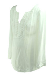 *New* White A Pea in the Pod Long Sleeve Ruffled Maternity Blouse with Adjustable Sleeves (Size Small)