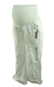 *New* White A Pea in the Pod Maternity Convertible Utility Cargo Maternity Capris with Zipper Detailing (Size Small)