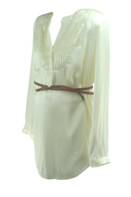*New* Cream A Pea in the Pod Collection 100% Silk Long Sleeve Maternity Pleated Blouse (Size Medium)