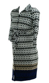 Black and White Pattern A Pea in the Pod Maternity Button Down 3/4 Sleeve V-Neck Maternity Dress (Like New - Size Small)