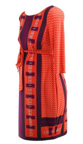 Red Orange with Purple A Pea in the Pod Maternity Geometric Print Belted Maternity Dress (Like New - Size Medium)