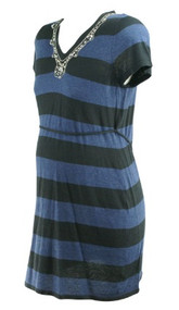 Navy Blue Lavish by Heidi Klum Maternity Striped Embellished Short Sleeve Maternity Dress (Gently Used - Size Medium)