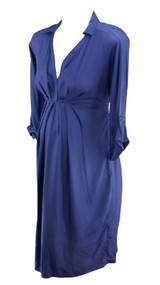 *New* Iris Purple Isabella Oliver Maternity Pleated Adjustable 3/4 Sleeve Shift Maternity Dress (Size 3/US 8)