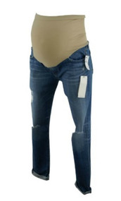 *New* Medium Wash Blue Adriano Goldschmied Maternity The Legging Ankle Distressed Cuffed Capris (Size 30 R)