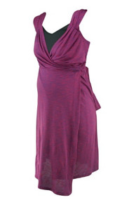 *New* Berry Everly Grey Maternity Alexandra Mini Stripe Double  Layer Wrap Dress
