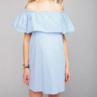 Blue Striped Pietro Brunelli Maternity Off The Shoulder Dress (Like New - Size Small)