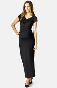 Black Rosie Pope Catherine Short Sleeve Cowl Neck  Maxi Dress (Like New - Size Medium)