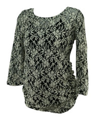 Black and White Floral Ruched Lace Jessica Simpson Maternity Blouse (Like New - Size Medium)