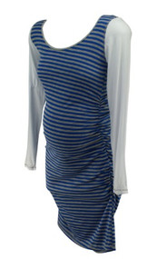 *New* Blue and Gray Striped Lilac Maternity Casual Maternity Summer Dress (Size Large)