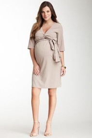 Parisian Taupe Madeline Maternity 3/4 Sleeve Wrap Dress (Like New - Size 1)