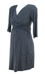 Navy Seraphine Maternity 3/4 Sleeve Diamond Print Maternity Dress (Gently Used - Size 4 US)